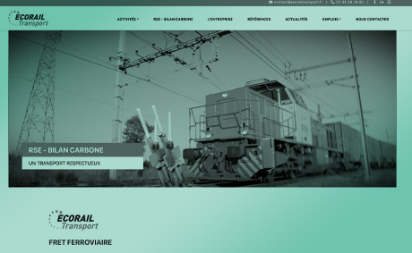 site internet du specialiste du fret ferroviaire ecorail transport realise par socotic creation ( site internet joomla wordpress WooCommerce prestashop webmaster) installe a proximite de chambray les tours 37170